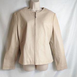 Kate Hill leather beige jacket size 16